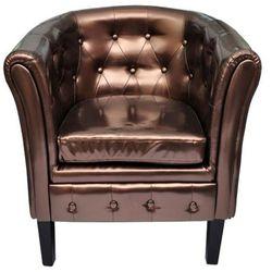 vidaXL Półokrągły fotel ze skóry syntetycznej, brązowy Darmowa wysyłka i zwroty