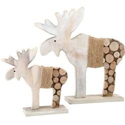 Drewniane figurki łosie - dekoracja świąteczna - 2 szt