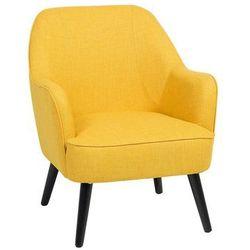 Fotel żółty - wypoczynkowy - do salonu - tapicerowany - LOKEN