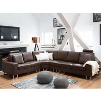 Narożniki, Stylowa sofa kanapa z brązowej skóry naturalnej narożnik STOCKHOLM