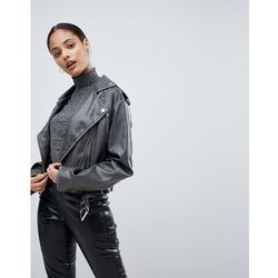 ASOS Leather Look Washed Biker Jacket - Grey