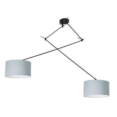 Lampy sufitowe, Lampa wisząca regulowana czarna klosz jasnoniebieski 35cm - Blitz II
