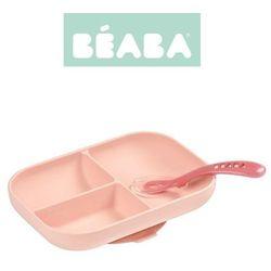 Komplet naczyń z silikonu trójdzielny talerz z przyssawką + łyżeczka Pink Beaba