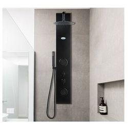 Panel prysznicowy z hydromasażem JUBIDA – kolor czarny – 20 × 130 cm