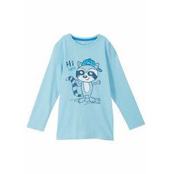 Shirt chłopięcy z długim rękawem, bawełna organiczna bonprix mglisty niebieski