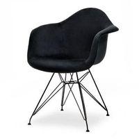 Krzesła, KRZESŁO SKANDYNAWSKIE ART105C CZARNY WELUR NOGI CZARNE METALOWE