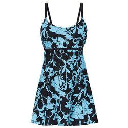 Sukienka kąpielowa wyszczuplająca bonprix czarno-turkusowy