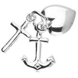 Srebrny gładki wisiorek serce krzyż kotwica wiara nadzieja miłość srebro 925 CI63