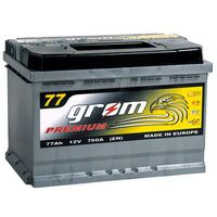 Akumulatory samochodowe, Akumulator GROM Premium 77Ah 760A EN PRAWY PLUS