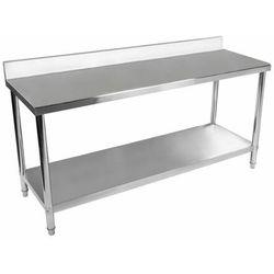 Stół roboczy - 180 x 60 cm - 182 kg - stal nierdzewna - rant