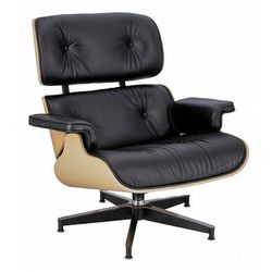 Skórzany fotel czarny - dąb naturalny - Mahis 2X