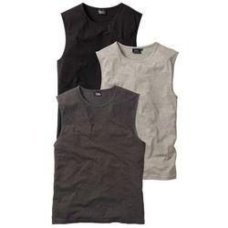 Shirt bez rękawów (3 szt.) Regular Fit bonprix antracytowy melanż + jasnoszary melanż + czarny