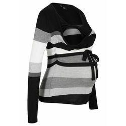 Sweter ciążowy i do karmienia, w paski bonprix czarno-szary w paski