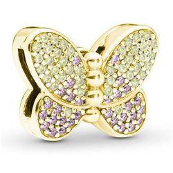Pozłacany srebrny charms pandora koralik reflexions motyl butterfly cyrkonie srebro 925 BEAD194Y