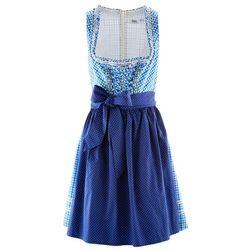 Krótka sukienka ludowa w kratę, z fartuchem, bonprix błękit królewski w kratę