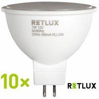 Żarówki tradycyjne, Retlux żarówki RLL 288 GU5.3 7W, 10 szt., ciepły biały
