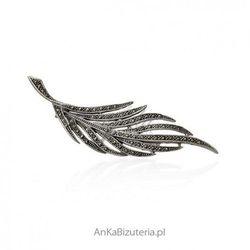 ankabizuteria.pl Broszka srebrna z markazytami - duża srebrna broszka liść