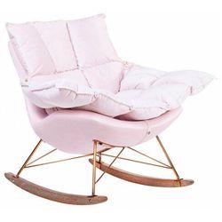 Jasnoróżowy fotel bujany na drewnianych płozach - Cradle