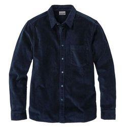 Koszula sztruksowa ze stretchem Slim Fit, długi rękaw bonprix ciemnoniebieski