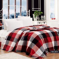 SELSEY Narzuta Georgio 200x240 cm bawełniana czarno-czerwona kratke