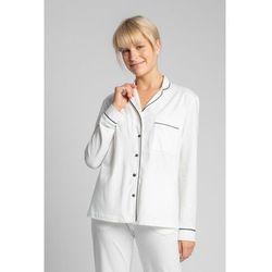 LA019 Bawełniana koszula od piżamy z kołnierzykiem - ecru