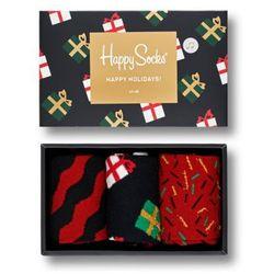Skarpetki Happy Socks Giftbox Happy Holidays (3-pak) XMAS08-7001 - Czarny-Czerwony