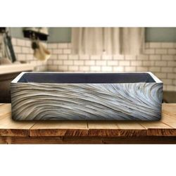 ELEGANT - betonowa umywalka nablatowa ze strukturalnym zdobieniem metalicznym rabat 40%