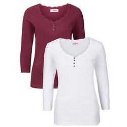 Shirt w prążek, rękawy 3/4 (2 szt.) bonprix bordowy + biały