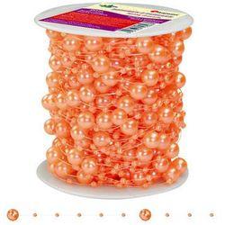 Girlanda perłowa sznurek z perełkami pomarańcz 20m - pomarańczowy / perłowy