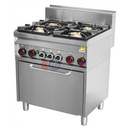 Piece i płyty grzejne gastronomiczne, Kuchnia gazowa wolnostojąca 4-palnikowa z piekarnikiem elektrycznym konwekcyjnym Red Fox linia 700 CF4-8 GEM/S