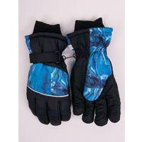 Odzież do sportów zimowych, Rękawiczki narciarskie męskie czarne niebieski deseń 22