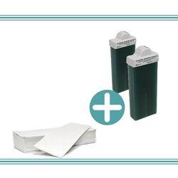 Zestaw do depilacji - 2x wosk azulenowy + paski cięte marki Cosnet