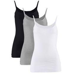 Top na cienkich ramiączkach (3 szt.) bonprix biały + czarny + jasnoszary melanż