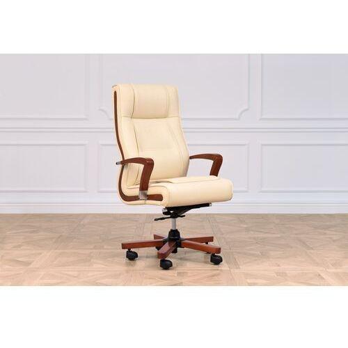 Fotele i krzesła biurowe, Fotel skórzany AMBASSADOR kremowy