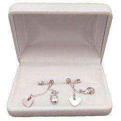 Kolczyki srebrne celebrytka z cyrkonią i sercem o długości 4,5 cm SKCW02