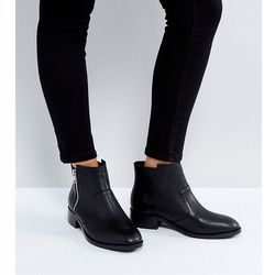 ASOS AMPLE Wide Fit Leather Zip Ankle Boots - Black