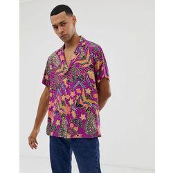 ASOS DESIGN regular fit paisley shirt with deep revere collar in purple - Purple