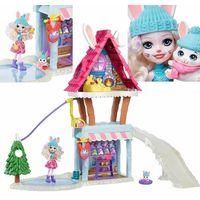 Lalki dla dzieci, Lalka enchantimals zimowa chatka zestaw