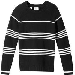 Sweter chłopięcy w paski bonprix czarno-biel wełny w paski