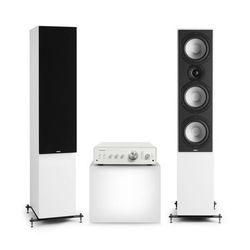 Numan Drive 801, zestaw stereo składający się ze wzmacniacza stereo i kolumn stojących, biały/czarny