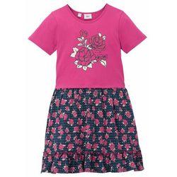Sukienka dziewczęca z dżerseju bonprix różowa magnolia + ciemnoniebieski