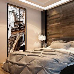 Fototapeta na drzwi - Tapeta na drzwi - Wieża Eiffla na drewnie bogata chata
