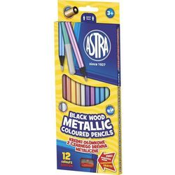 Kredki 12 kolorów okrągłe metaliczne