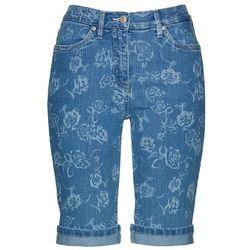 """Bermudy dżinsowe z nadrukiem bonprix niebieski """"bleached"""" - biały z nadrukiem"""