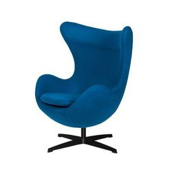 Fotel EGG CLASSIC BLACK marynarski niebieski.35 - wełna, podstawa czarna