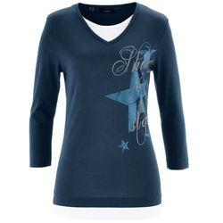 Shirt z rękawem 3/4 bonprix ciemnoniebieski z nadrukiem