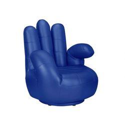 Fotel obrotowy w kształcie dłoni CATCHY z materiału skóropodobnego - Niebieski