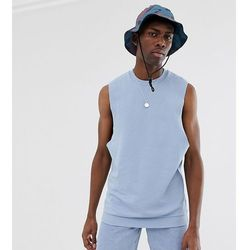 ASOS DESIGN Tall relaxed sleeveless sweatshirt with dropped armhole in blue - Blue