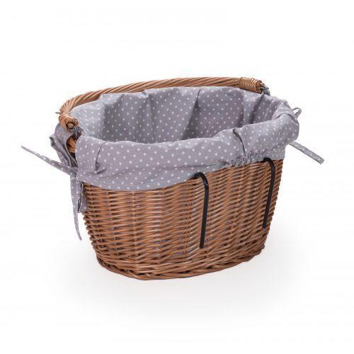 Sakwy, torby i plecaki rowerowe, Wiklinowy kosz rowerowy na kierownicę obszycie wkład bawełna rowerak