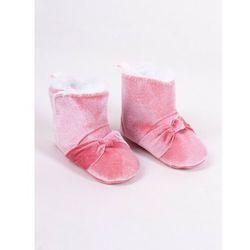 Kozaki dziewczęce zamszowe różowe ozdobny pęczek 0-6 miesięcy